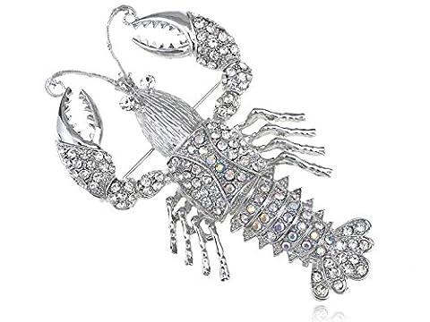Alilang Palm Size Clear Aurora Borealis Crystal Rhinestone Sea Lobster