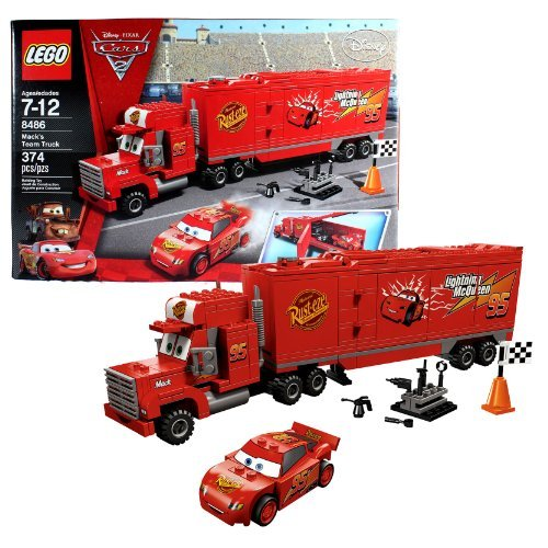 Lego Year 2011 Disney Pixar Cars 2 Movie Scene Set #8486 - MACK'S TEAM TRUCK with Opening Trailer Plus Classic Lightning McQueen, Cone, Racing Flag and Tool Rack with Tools (Total Pieces: 374) by Unknown (Disney Lego-sets Cars)