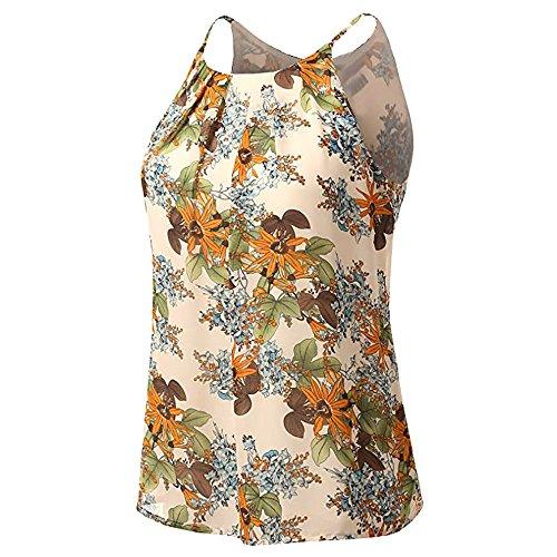 Andouy Damen - Camis Top Print - Ärmellose Weste Tank Plus Size Gr.36-52 Übergroße Laides Daily Beach Straps-Bluse(XL(42).Beige