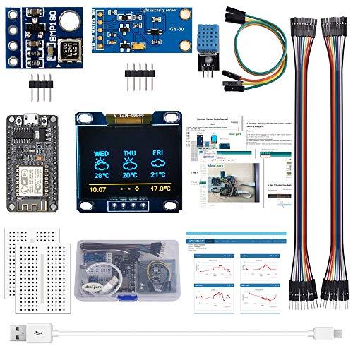 ESP8266 Wetterstation-Kit mit DHT11 Temperatur-Luftfeuchtigkeit BMP180 Atmosphärischer Druck BH1750FVI Lichtsensor 0,96
