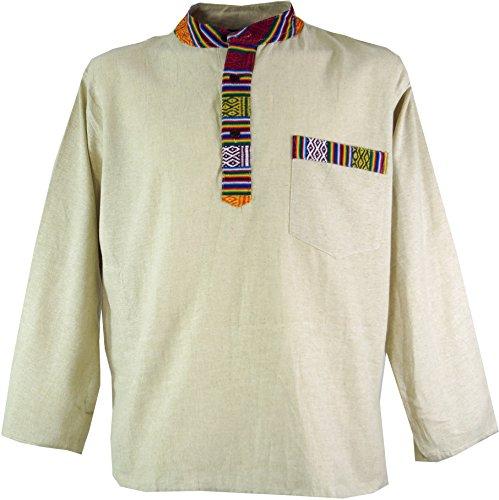 Guru-Shop Nepal Ethno Fischerhemd, Goa Hemd, Herren, Creme, Baumwolle, Size:XL, Männerhemden Alternative Bekleidung