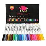 StoffMarkers Dauerhaft Kunst Markierungen 24 SET Prämie Qualität Fein Tipp MINIMAL BLEED Stoff Stifte Durch Crafts 4 ALL. KinderSafe und Nicht-Giftig.