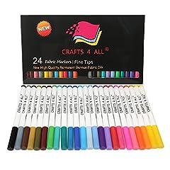 Idea Regalo - I marcatori di tessuto arte permanente marcatore 24 set di qualità premium punta fine di spurgo minima penne di Crafts 4 ALL.Child Safe & non tossico.