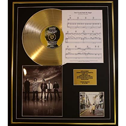 OASIS/CD GOLD DISC, SONG SHEET & PHOTO DISPLAY/LTD. EDITION/COA/ALBUM, (WHATS THE STORY) MORNING GLORY/SONG SHEET, DON'T LOOK BACK IN ANGER