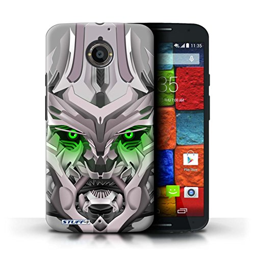 Kobalt® Imprimé Etui / Coque pour Motorola Moto X (2014) / Opta-Bot Jaune conception / Série Robots Mega-Bot Vert