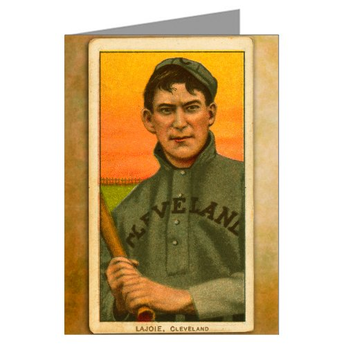 6biglietti di auguri di nap Lajoie, Cleveland Bluebirds, vintage baseball Trading Card, a