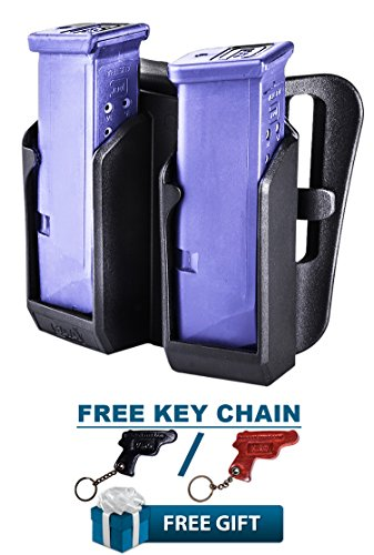 BDMP CAA Gearup Polymer Break Away Double Magazine Carrier for Glock 26,  27, 34, 35 + KIRO Leather Key Chain