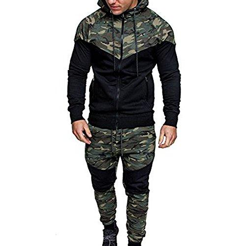 Top + Hosen Sets Herren, Sunday Hoodie Männer Herbst Winter Sport Anzug Sweatshirt Tops Jacke Mantel Outwear Camouflage Schwarz Spleißen Kordelzug Hose Trainingsanzug Tarnung Suits (M, Camouflage) (Tricot Jacke-set)
