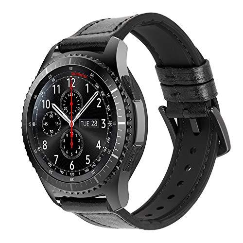 iBazal 22mm Armband Leder Hybrid Gummi Silikon Kompatibel mit Gear S3 Frontier/Classic SM-R760, Galaxy Watch 46mm, Huawei GT/2 Classic/Honor Magic, Ticwatch Pro, Moto 360 2nd Gen 46mm - Hybrid Schwarz (Band Leder 22 Uhr)