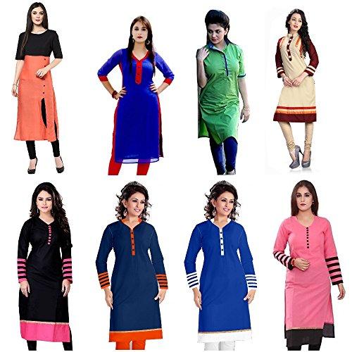 Pramukh Fashion Women\'s Cotton Semi-Stiched Kurti (Multicolor_Free Size)
