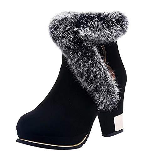 Stiefel Damen Boots Frauen Wildleder Stiefeletten Plüsch Quasten Runde Zehe Schuhe Halten Warme Winterstiefel Schneestiefel Freizeitschuhe ()