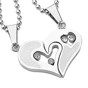 jsdde 2x pendentif d 39 amiti collier amour s parable cristal bijoux pour amoureux 2 cha ne. Black Bedroom Furniture Sets. Home Design Ideas