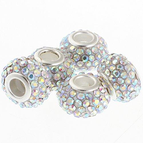 rubyca 15mm Big Loch Kristall Charme Perlen für europäische Charm-Armband, AB Crystal, 10 Stück White Porcelain Side Plate