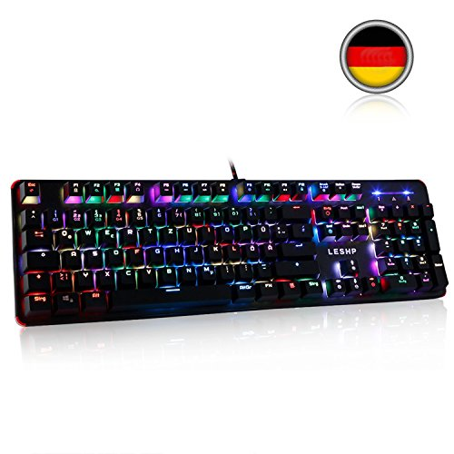 LESHP RGB Mechanische Tastatur, Tragbarer Gaming Tastatur mit blau Switch | 105 Tasten Mechanical Keyboard | RGB LED-Hintergrundbeleuchtung / 19 Lichtmodi / Deutsch QWERTZ-Layout