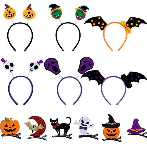 12 pezzi accessori per capelli di halloween modello di cranio pipistrello zucca fantasma fasce per capelli halloween fermaglio per capelli testa bopper per bambini halloween costume festa decorazione