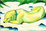 Poster 60 x 40 cm: Liegender Hund im Schnee von Franz Marc - Hochwertiger Kunstdruck, Neues Kunstposter
