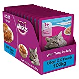 Whiskas Adult (+1 Year) Wet Cat Food Food, Tuna in Jelly, 12 Pouches