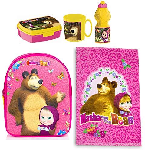Ltp masha e orso set zainetto zaino in 3d ,asciguamano, porta merenda scuola asilo tempo libero