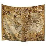 BEWAVE wandteppich Weltkarte Hängende große antike Polyester-Wanddekor für Schlafzimmer (Vielfältige Weltkarte, 203 x 153 cm)
