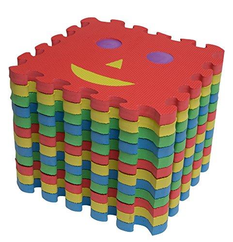 12er Puzzleteppich mit Gesicht Spielteppich Spielmatte Kinder Turnmatte Steckmatte Puzzlematte Schaumstoffmatte schadstofffrei für Baby Kinderhocker Puzzleteppich Krabbelmatte (Misst Gesicht)