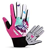 FREEMASTER Full Finger Gel Cycling Gloves Touch Screen Sport Mountain Road Bike Bicycle Gloves (Full Pink, S)