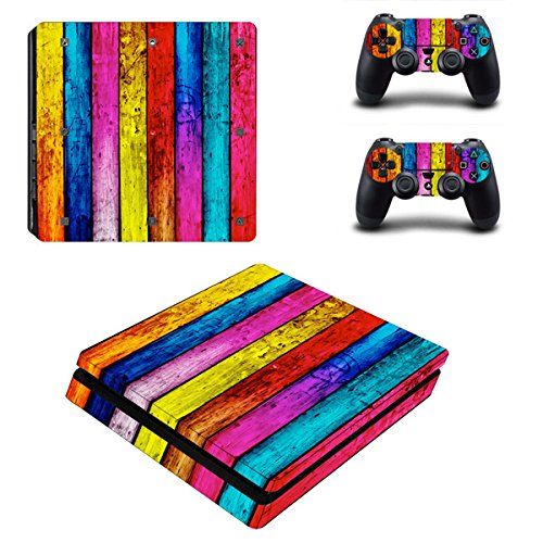 Morbuy Ps4 Slim Skin Consola Design Foils Vinyl Pegatina Sticker And 2 Playstation 4 Slim Dualshock Controlador Skins Set (Wood Rainbow)