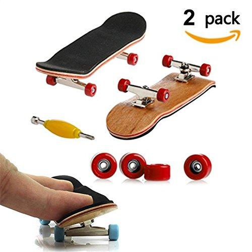 Mini Fingerboard, 2 Pack Skateboard professionnel Finger pour Tech Deck Érable Wood Ensemble de bricolage Skate Boarding Jouets Jeux de sport Cadeau pour enfants par AumoToo (Rouge)