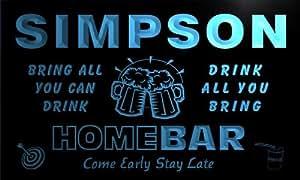 q41605-b SIMPSON Family Name Home Bar Beer Mug Cheers Neon Light Sign