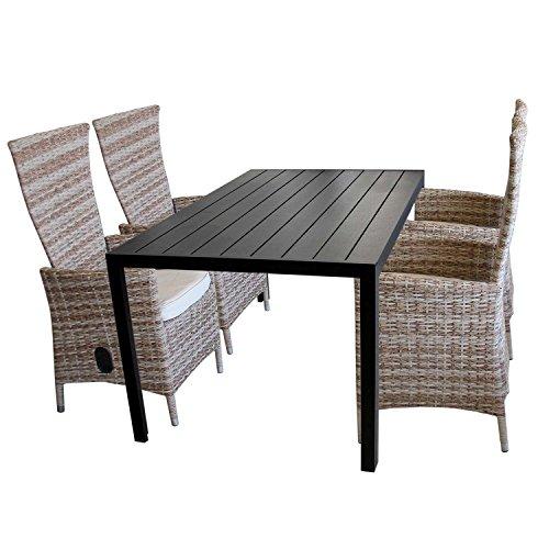 5tlg. Gartengarnitur Aluminium Gartentisch mit schwarzer Polywood Tischplatte 150x90cm + 4x verstellbare Poly Rattansessel Nature Sitzgruppe Sitzgarnitur Balkonmöbel Terrassenmöbel Set