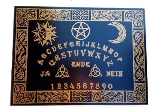 Wildkräuterhex Witchboard Celtic, handgearbeitet, aus Teakholz-Furnier, schwarz mit keltischen Motiven, mit Planchette, 58x43 cm, Hexenbrett# (Ouija-brett)