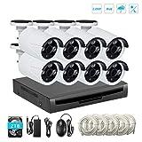 Kit di videosorveglianza PoE, EMAX telecamera Day/Night Bullet IR 8pcs, IP66 in 2.0 Megapixel 1080P con PoE collegato con registratore NVR in H.264(disco rigido da 2 TB incluso preinstallato)
