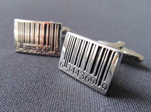 Strichcode Manschettenknöpfe Miniblings Knöpfe + Box Barcode Code Scanner silber - 3