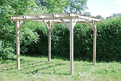 G&C Henley Holzpavillon – klassische viereckige Pergola aus Fichtenholz – druckimprägniert – Maße: H215 cm x 300 cm x 300 cm von Jagram bei Gartenmöbel von Du und Dein Garten