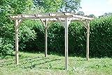 G&C Henley Holzpavillon – klassische viereckige Pergola aus Fichtenholz – druckimprägniert – Maße: H215 cm x 300 cm x 300