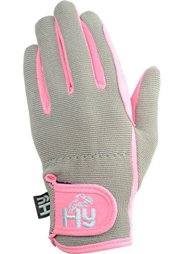 Hy5Everyday Kinder-Reithandschuhe, zweifarbig, pink/grau, XL