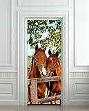 JIAER DIY 3D Wandaufkleber Wandbild Wohnkultur Pferde Stall Scheune Abnehmbare Tür Aufkleber Decor 77X200 cm
