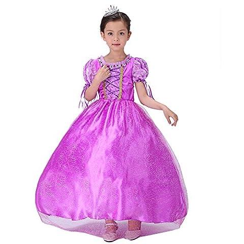 The Best New Princess Rapunzel Party Costume Girls Dress - purple - 150 cm
