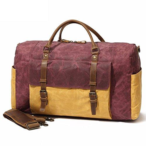 DCRYWRX Wasserdichte Gewachste Tote Duffel Handtasche Canvas Leder Overnight Handtasche Trim Travel Weekend Bag,Red