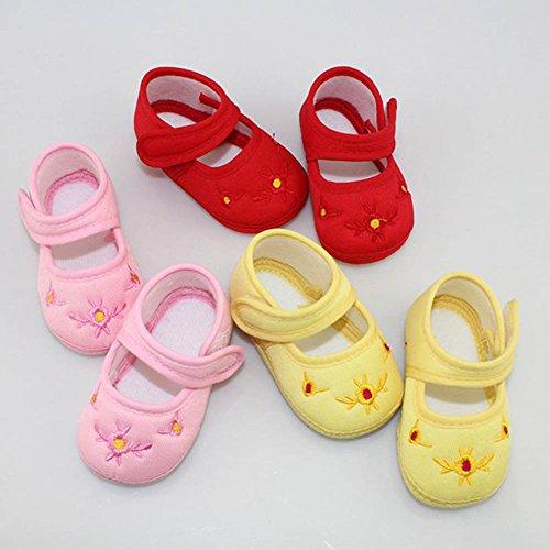 Etosell Chaussons de Premier Pas Motif Fleur Brodé 3 Couleurs pour Bébé Fille 0-18 mois (13(12 - 18 mois), Jaune) Rose