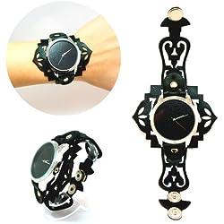 Zeigt eleganten und raffinierten-Armband Leder-Mystique Schwarz