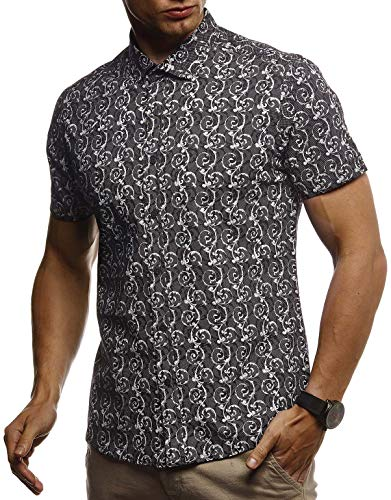 LEIF NELSON Herren Hemd Kurzarm Slim Fit T-Shirt Kentkragen | Stylisches Männer Freizeithemd Stretch Kurzarmhemd | Jungen Basic Shirt Freizeit Sweater Sommerhemd | LN3755 Schwarz Medium
