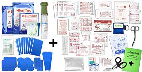 Erste Hilfe FÜLLUNG Gastro für Betriebe DIN/EN 13157 Plus 1 inkl. Augenspülung + Brandgel + detektierbare Pflaster + Hydrogelverbände + NOTFALLBEATMUNGSHILFE