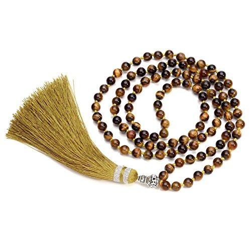 QGEM Schmuck 108 Perlen Edelstein Yoga Armband Om mani Padme hum Buddha Buddhistische Tibetische Gebetskette Healing Reiki Mala Kette Halskette mit Fransen/6mm-Kugelsteine (Tigerauge Stein)