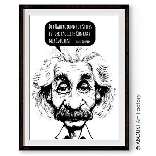 """ABOUKI hochwertiger Kunstdruck - ungerahmt - Albert Einstein Zitat """"Der Hauptgrund für Stress..."""", Poster, Plakat, Print, Druck, Illustration, Geschenk-Idee"""