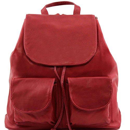 Tuscany Leather - Seoul - Sac à dos en cuir Grand modèle - Rouge foncé
