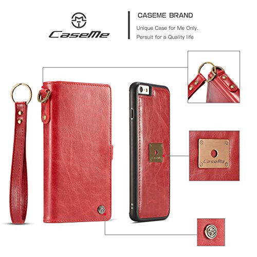 Wkae CaseMe Premium Leder Flip Folio Kickstand Wallet Card Case mit Handschlaufe für iPhone 6s ( Color : Red ) Red