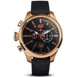 Chotovelli Pilot Rose Gold Men's Watch Chronograph display Black leather Strap 52.14