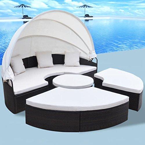 Tidyard- Gartensofa Sonnenliege Gartenlounge 13-TLG. 2-in-1 Lounge-Set mit Schiebedach Polyrattan Gartengarnitur Sitzpolster Rund 230 x 70 cm