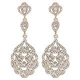 Mecresh oro matrimonio gioielli di cristallo orecchini da sposa, collegati orecchini per donne o damigelle