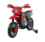 homcom Moto Cross Elettrica per Bambini con Rotelle con Certificato CE, EN71-1-2-3, EMC, EN62115, Rosso
